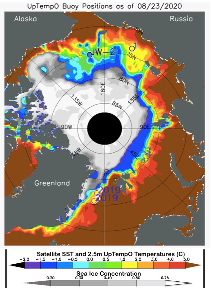 Figure 13. Sea-ice concentration (gray scale) and sea surface temperature (SST; color scale), for 23 August 2020. Taken from the UpTempO buoy website.