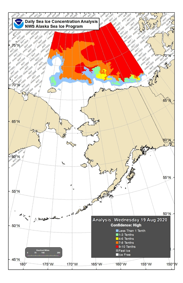 Figure 14. Sea-ice conditions for the northern Bering and Chukchi seas for 19 August 2020. Figure courtesy of the National Weather Service (NWS) Alaska Sea Ice Program (ASIP).