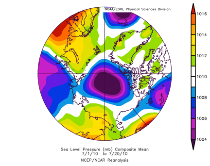 Map of sea level pressures (SLP) for July 1-19