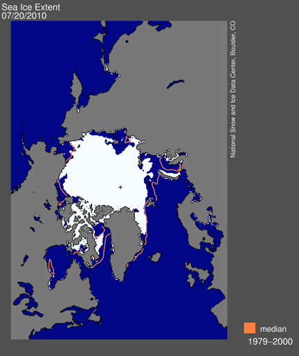 Figure 4. Sea ice extent for 20 July 2010