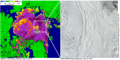 Ice concentration based on AMSR-E data for 12 July 2010