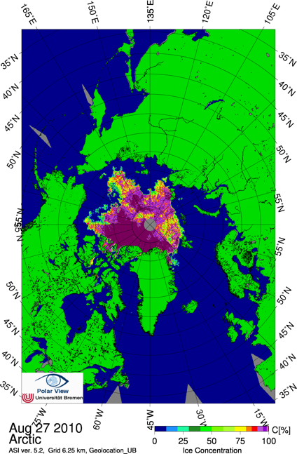 AMSR-E sea ice concentrations on 27 August 2010 from the University of Bremen.