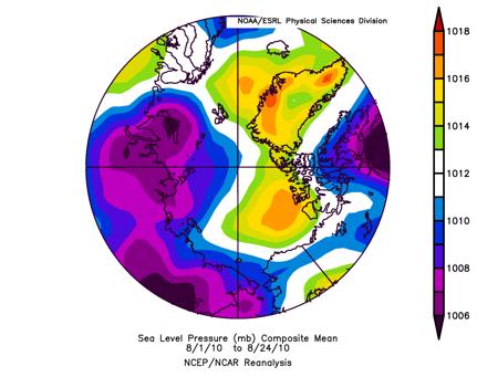 Figure 3. Mean sea level pressure for 1-24 August 2010.