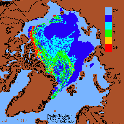 Figure 5. Ice age map for week 30 provided by C. Fowler and J. Maslanik.