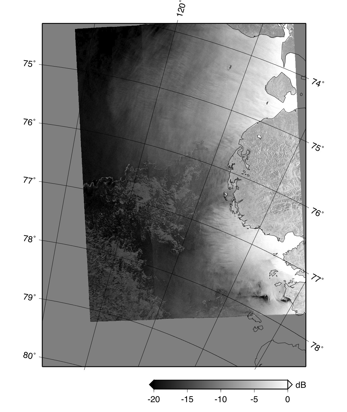 Envisat ASAR image of the coast of the Taymyr Peninsula.