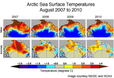 The maps show average sea surface temperatures and anomalies for August 2007.