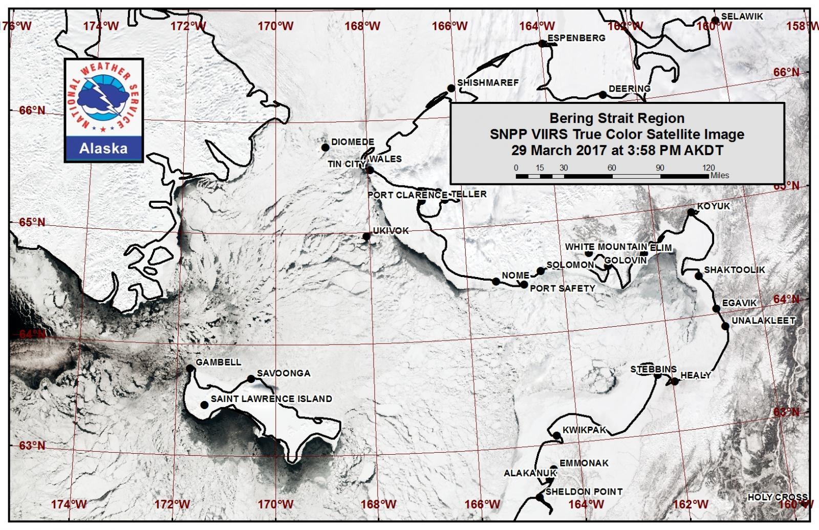 Bering Strait region true color satellite image