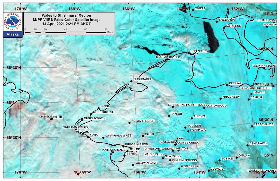 Wales to Shishmaref satellite image