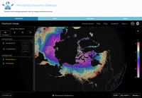 Figure 1. A custom data portal for the Navigating the New Arctic (NNA) project focused on building the Permafrost Discovery Gateway, showing an interactive global map with permafrost temperature values from Obu et al. (2019). Future versions of the portal system will support additional custom visualizations, embedded interactive maps, and embedded analysis applications.