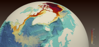 Figure 1. A simulated red dye tracer released from the Beaufort Gyre in the Arctic Ocean (center top) shows freshwater transport through the Canadian Arctic Archipelago, along Baffin Island to the western Labrador Sea, off the coast of Newfoundland and Labrador, where it reduces surface salinity. At the lower left is Newfoundland (triangular landmass) surrounded by orange color representing fresher water, with Canada's Gulf of St. Lawrence occupied by weaker freshening. Image courtesy of Francesca Samsel an
