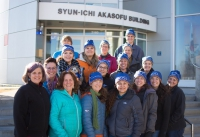 The 2019 PolarTREC Cohort and project management team pose for a photo outside the Syun-Ichi Akasofu Building on the University of Alaska Fairbanks campus during program orientation that was held in March 2019. The orientation is the only time the educators meet one another face to face. During the orientation, they learn about the program, discuss how to communicate their experience and the science to the public, and learn more about the polar regions. Photo courtesy of Joed Polly, ARCUS.
