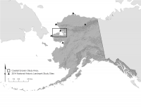 Figure 1. 2012-2014 Northern Alaskan study area and sites mentioned in text.  Image courtesy of Shelby Anderson.