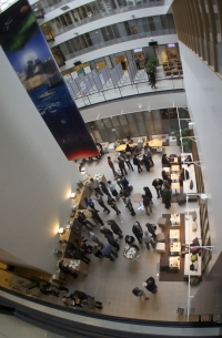 Attendees enjoy coffee break during Arctic Observing Summit. Photo courtesy of Mikko Strahlendorff.