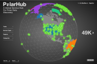 Figure 1: On the graphic user interface of PolarHub 2.0 above, numbers positioned on the globe show the amount of geospatial data services found and hosted at each location. Statistical information of PolarHub-identified data services, according to type, is displayed at the lower-left corner. The Task bar allows an authored user to create a new crawling task. PolarHub also allows data filtering using criteria such as Service Type, Coverage Region, and Categories (Themes). Image courtesy of Wenwen Li.