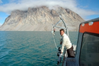 Marine biologist Mikael Sejr from Aarhus University measures temperature and salinity in Young Sound, Northeast Greenland, for the GEM database. Photo courtesy of Mikael Sejr.