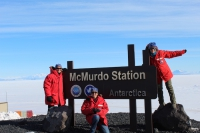 McMurdo Station, Antarctica - 2019 PolarTREC Teachers Denise Hardoy, Bridgette Ward, and Amy Osborne. Photo courtesy of Denise Hardoy, ARCUS.