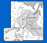 Figure 1. Map of historic Khanty and Mansi territory. Image courtesy of Waking the Bear: Understanding Circumpolar Bear Ceremonialism.