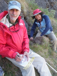 Collecting soils on a south-facing slope in West Greenland.