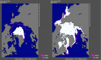Figure 1 Arctic sea ice extent, March and September 2012