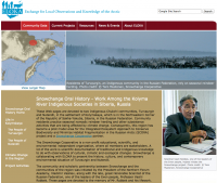 Screen shot of ELOKA's Snowchange Oral History website
