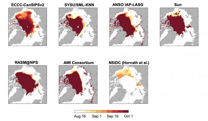 Figure 11. Forecast of IFD using a 15% SIC threshold from eight contributors. Dark red shading in the central Arctic indicates that SIC never reaches the 15% threshold. Figure courtesy of Edward Blanchard-Wriggelsworth.
