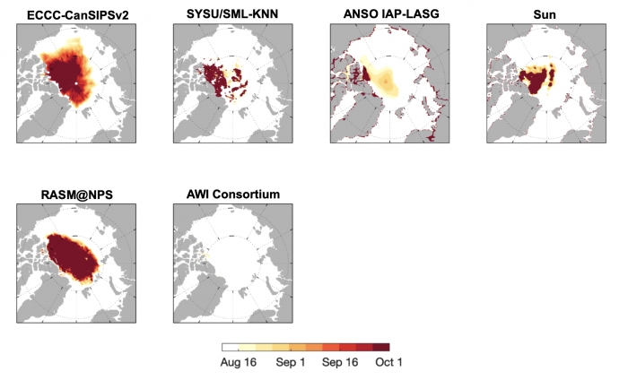 Figure 12. Forecast of IFD using a 80% SIC threshold from eight contributors. Dark red shading in the central Arctic indicates that SIC never reaches the 15% threshold. Figure courtesy of Edward Blanchard-Wriggelsworth.