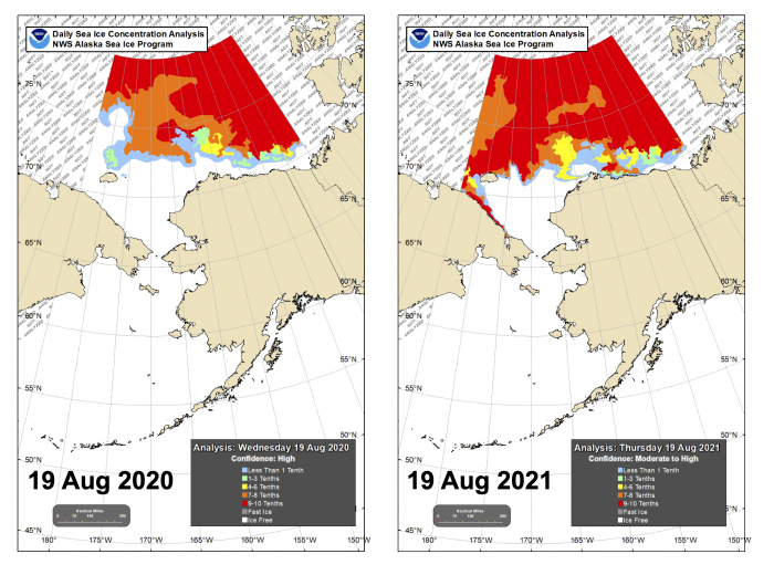 Figure 15. Sea-ice conditions for the Alaska Region for mid-August 2020 and 2021. Figure courtesy of the National Weather Service (NWS) Alaska Sea Ice Program (ASIP).