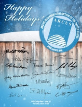Holiday card with ARCUS staff signatures
