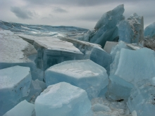 Ice formations at the foot of Russell Glacier. Kangerlussuaq, Greenland.