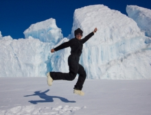 Alex Eilers jumps for joy at the Turtle Rock pressure ridges. Turtle Rock, Antarctica.