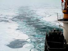 A trail of broken sea ice left behind the USCGC Healy.