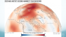 Figure 1. Temperature departures from normal for the 12 months ending September 2020. Graphic created by climate.gov for ARC2020.
