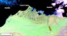 Figure 1. MODIS satellite image of northern Alaska showing the location of Teshekpuk Lake relative to other long-term Arctic observatories. Image courtesy of Benjamin M. Jones.