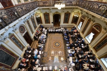 Figure 1. ASM-1 was held in the ornate Indian Treaty Room in the Eisenhower Executive Office Building next to the White House. Here, Alaska Native and other Arctic Indigenous peoples are meeting with senior U.S. Government officials preceding ASM-1, on 27 September 2016. Photograph Photo courtesy of U.S. Coast Guard Petty Officer 2nd Class Connie Terrell.