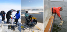Figure 1: To capture seasonal variability in the lagoons, BLE LTER field work occurs during ice cover (April), ice break-up and high river flow (June), and the open-water summer (August). By sampling and measuring aspects of hydrology, chemistry, biology, and ecology over three seasonal timepoints, our multi-institution program will gain a clearer understanding of how lagoon ecosystems function, and how they might respond to perturbations. From left, photos courtesy of K. Dunton, C. Bonsell, T. Dunton.
