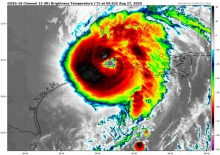 Figure 1. Infrared satellite image of Hurricane Laura making landfall east of Houston on 27 August 2020. Image courtesy of NOAA satellite data.