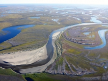 Figure 2. The Fish Creek (Iqalliqpik in Inupiaq) Watershed is land mosaicked by rivers, streams, lakes, and wetlands that provide important subsistence resources for Alaska Native communities and water resources for petroleum exploration and development.  Photo courtesy of Chris Arp.