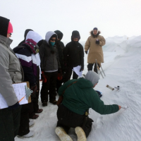 Students measure properties of snow