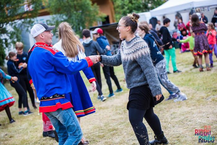 Figure 2. Dancing sydis at Sámi music festival. Photo courtesy of Riddu Riđđu.
