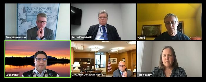 Screen shot of virtual discussion among Arctic nation diplomats and session facilitators during the One Health One Future virtual conference. Image courtesy of Hannah Robinson.