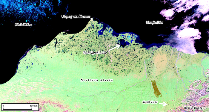 Figure 1. MODIS satellite image of northern Alaska showing the location of Teshekpuk Lake relative to other long-term Arctic observatories. Image courtesy of Benjamin M. Jones.