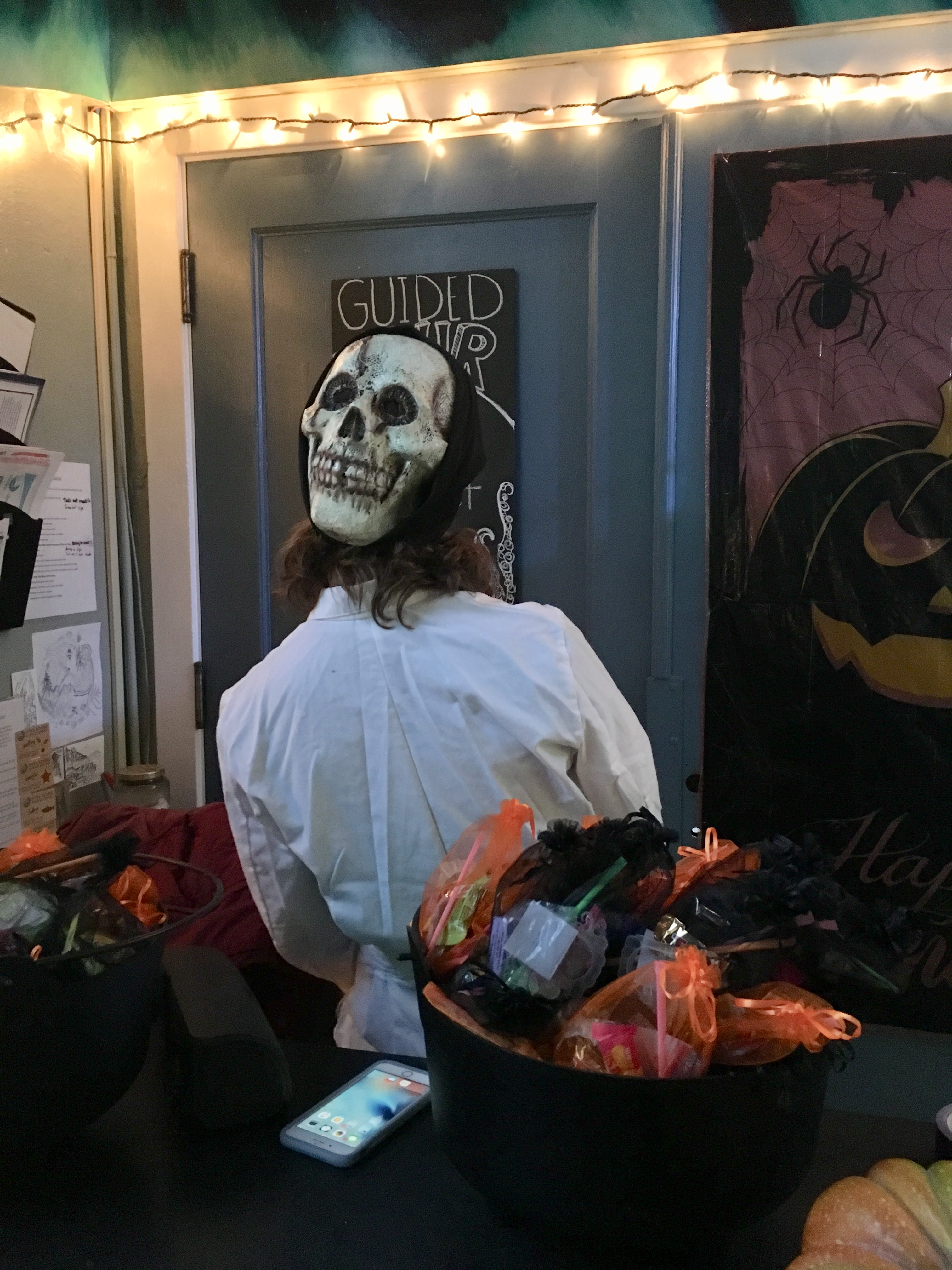 Dr. Lauer getting into the spirit of a community Halloween event as part of her Scientist in Residency Fellowship in Sitka, Alaska. Photo courtesy of Lisa Busch.