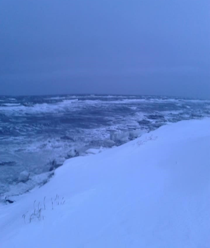 Figure 2. Open ocean in Shishmaref, Alaska on 22 February 2018 Photo courtesy of Sharon Nayokpuk.