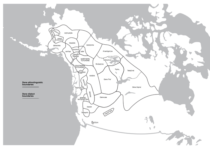 Figure 1. Map of Northern Dene ethnolinguistic groups. Courtesy of Cannon 2019.