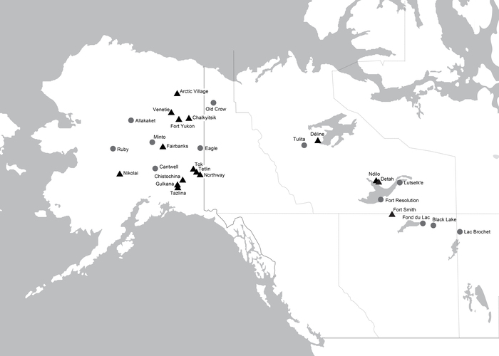Figure 2. The author's research sites (2009—2019). Black triangles show the physical field sites visited by the author, whereas shaded circles show the home communities of traditional knowledge bearers who worked with the author at another location. Courtesy of Cannon.