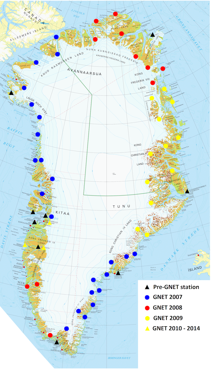 Figure 1. Current GNET stations. Sites indicated with a black triangle proceeded GNET; those indicated by a circle were part of the original IPY installation, in years 2007 (blue), 2008 (red), and 2009 (yellow). Sites indicated with a yellow triangle came later. Image courtesy of Finn Bo Madsen.