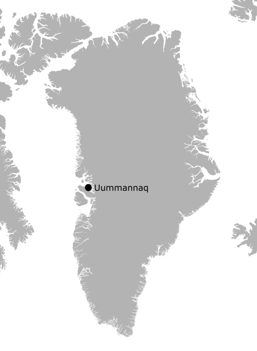Figure 1. Location of Uummannaq in western Greenland. Map image courtesy of Johnny Ryan.