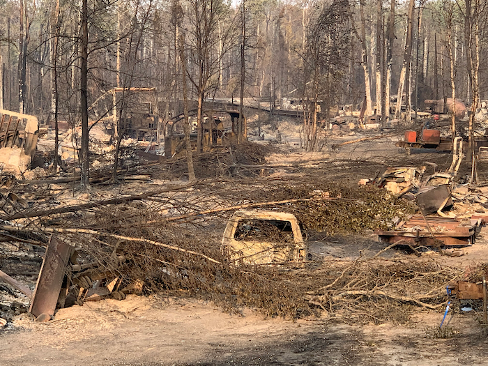 Figure 2: The aftermath of the McKinley fire, which destroyed more than 130 structures along the Parks Highway in August 2019. Photo courtesy of KTUU.