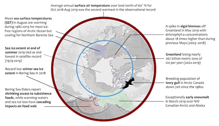 Figure 1. Some Arctic Report Card 2019 essay highlights from across the Arctic. Image prepared by M. Druckenmiller for Arctic Report Card 2019.