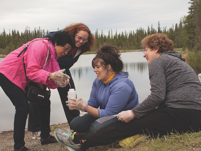 Alaska ACE education Lead Elena Sparrow (left) instructs teachers in the GLOBE program, June 2015. Photo courtesy of Tom Moran/Alaska EPSCoR.